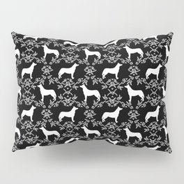 Husky floral dog pattern simple minimal basic dog silhouette huskies dog breed black and white Pillow Sham