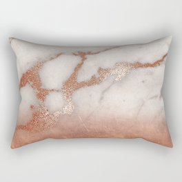 Shiny Copper Metal Foil Gold Ombre Bohemian Marble Rectangular Pillow