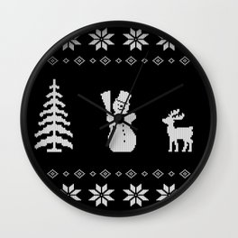 Christmas xmas snowman knit design Wall Clock