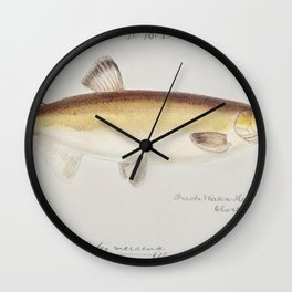 Antique drawing watercolor fish Rough skate marine life Wall Clock