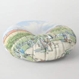 Franz Alt - The Heldenplatz in Vienna with a view of the Leopoldine wing of the Hofburg - Digital Remastered Floor Pillow