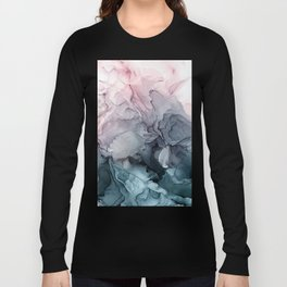 Blush and Paynes Gray Flowing Abstract Reflect Long Sleeve T-shirt