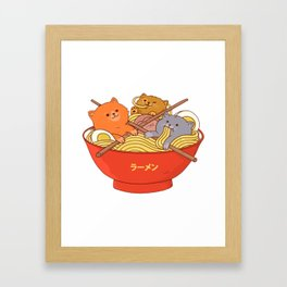 Ramen and cats Framed Art Print