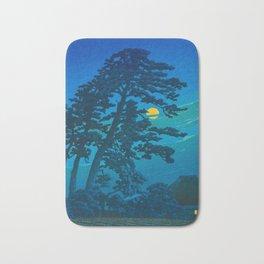 Vintage Japanese Woodblock Print Kawase Hasui Haunting Tree Silhouette At Night Moonlight Bath Mat