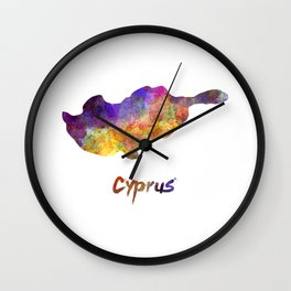 Cyprus in watercolor Wall Clock