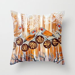 Zebra Finches Throw Pillow