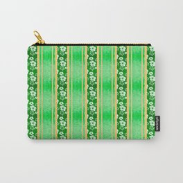 Green Hibiscus Honu Stripes Carry-All Pouch