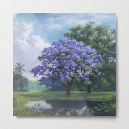 Purple Jacaranda Tree in Tropical Landscape by A. E. Backus Metal Print