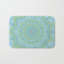 Blue and Green Flower Mandala Bath Mat