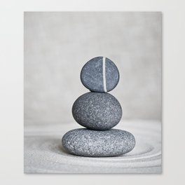 Zen cairn pebble stone balance grey Canvas Print