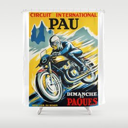 Grand Prix de Pau, Race poster, vintage motorcycle poster, retro poster, Shower Curtain