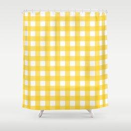 White & Yellow Gingham Pattern Shower Curtain