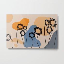 Minimal lines Flowers abstract Art Metal Print