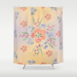 Marigolds and Asters Mandala Shower Curtain