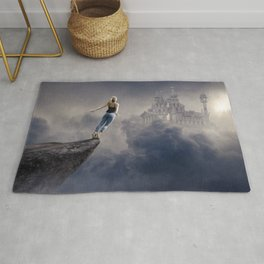 Leap of Faith, female magical realism color photography / photographs Rug