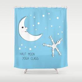 Half moon yoga class cartoon drawing Shower Curtain