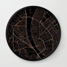 Black and gold Budapest map Wall Clock