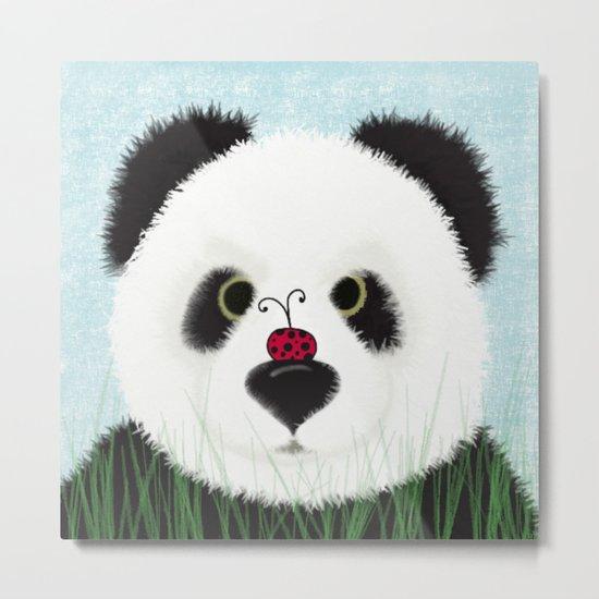 The Panda Bear & His Visitor Metal Print