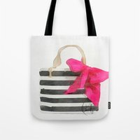 french Tote Bags featuring French Outing  by Xchange Art Studio