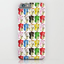 Maneki neko right paws with gold coin pattern iPhone Case