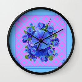 Baby Blue-Lilac Pattern Morning Glories Art Wall Clock