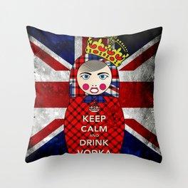 Keep Calm and Drink Vodka Matryoshka Throw Pillow