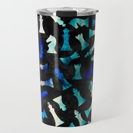 Chess Figures Pattern -Watercolor Blue and Teals Travel Mug