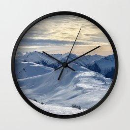 Beautiful Winter Snowy Mountains Wall Clock