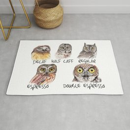 Owl Caffeine Meter -  funny owl coffee Rug