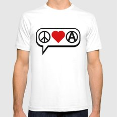 Peace. Love. Anarchy. SMALL White Mens Fitted Tee