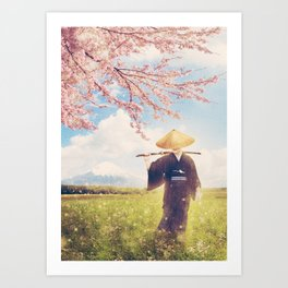 The warrior under the sakura tree Art Print