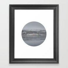 Telescope 6 cabin across the water Framed Art Print