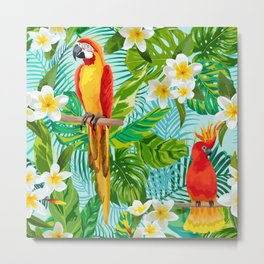 Tropical Parrot Chillin Metal Print