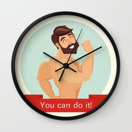Motivational and inspirational poster with 'You can do it' text. Gym, bodybuilding, concept image, b Wall Clock