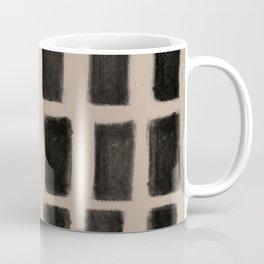 Brush Strokes Vertical Lines Black on Nude Coffee Mug