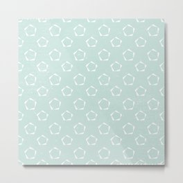 Geometric Mint Green Stencil Pattern Metal Print
