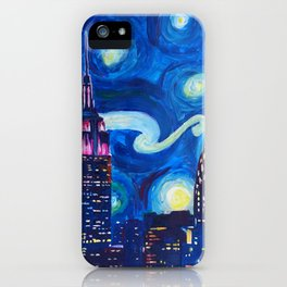 Starry Night in New York - Van Gogh Inspirations in Manhattan iPhone Case