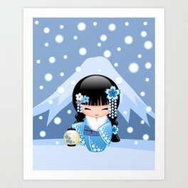 Japanese Winter Kokeshi Doll at Blue Mountain Art Print