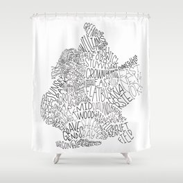 Brooklyn - Hand Lettered Map Shower Curtain