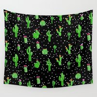 polkadot Wall Tapestries featuring Dotted Cactus by Kangarui by Rui Stalph