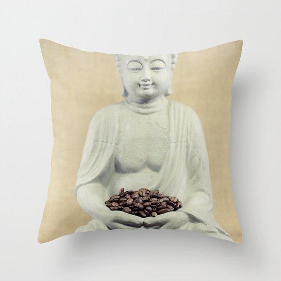 Coffee beans Buddha 3 Throw Pillow