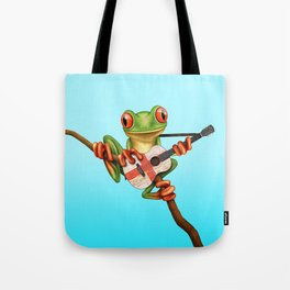 Tree Frog Playing Acoustic Guitar with Flag of England Tote Bag