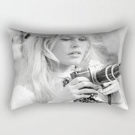 Brigitte Bardot with Camera , Vintage Actress , Poster, Style print, Fashion photography Rectangular Pillow