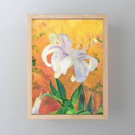 White Lily Floral Watercolor Portrait - Rose Gold Background Framed Mini Art Print