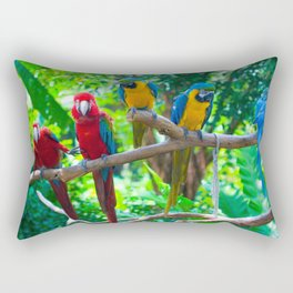 Amazing Fantastic Group Of Colorful Ara Parrots Sitting On Tree Branch Close Up Ultra HD Rectangular Pillow