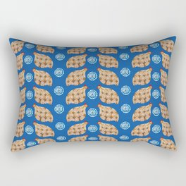 Gold guinea fowl pattern on blue Rectangular Pillow