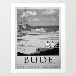 retro monochrome Bude Art Print