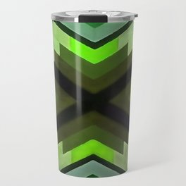 Navaho Vibes Geometric Pattern - Black Olive Lime Travel Mug