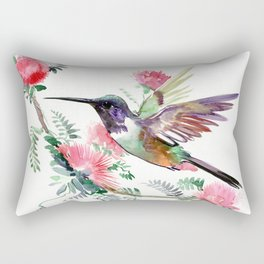 Flying Hummingbird and Red Flowers Rectangular Pillow