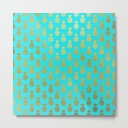 Gold Abstract Pineapples Pattern on Teal Metal Print